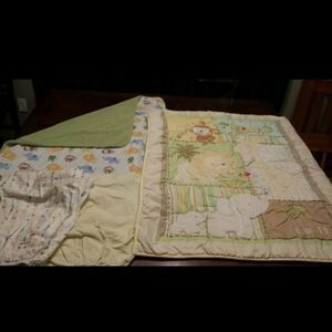 Baby comforter, blanket, & two sheets.